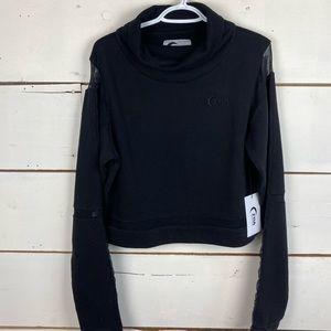 Zyia black mesh cowl neck sweatshirt L women's